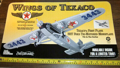 Wings of Texaco Promo Gas Station Sign for 1927 Ford Tri-Motored Plane Ertl Bank