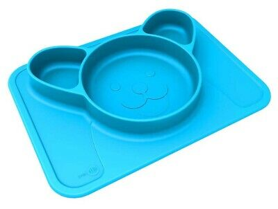 NEW Animat Silicone Non-Slip Baby One-Piece Bowl / Plate / Placemat - Blue