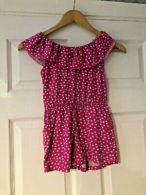 Girl's Pink & White Spotty Short Summer Playsuit From Matalan Age 6 Yrs