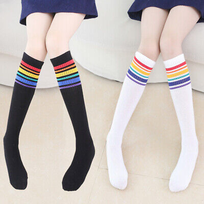 Womens Girls Sheer Striped Thigh High Stockings Plus Size Over The Knee Socks