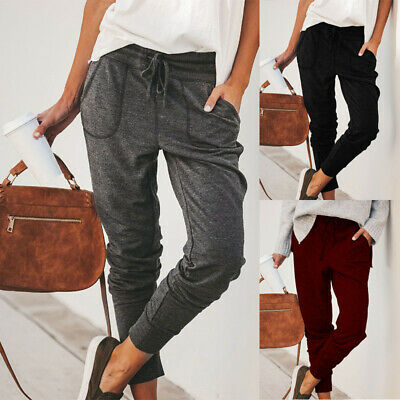 Womens Elastic Stretchy Pants Tracksuits Loose Fit High Waist Sports Trousers