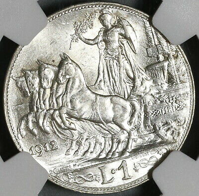 1912 NGC MS 63 Italy 1 Lira Horses & Chariot Silver Mint State Coin (20050502C)