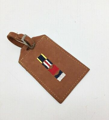 Zep-Pro Luggage Briefcase ID Tag Tan Suede Leather Embroidered Nautical Flags
