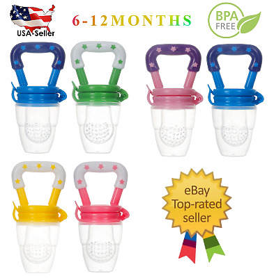 (2 Pack) US Baby Feeding Pacifier Fresh Food Fruits Feeder, (Medium 6-12 Months)
