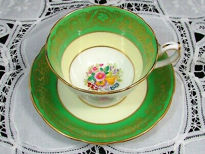 Hammersley Hp Floral Green Fancy Gold Tea Cup And Saucer