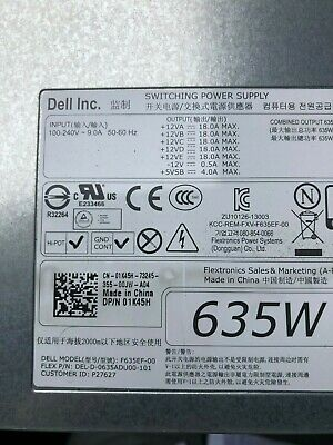 Dell F635EF-00 635W Power Supply for Precision T3600 workstation 1K45H or NVC7F