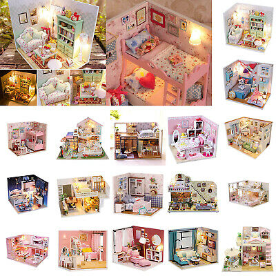 Mini DIY LED Wooden Dollhouse Miniature Wooden Furniture Kit Doll House Toy Gift