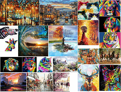 DIY Oil Painting Paint By Number Cat Wolf Tree Bus Pattern Kit for Adult Kid