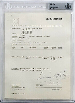 Salvador Dali Authentic Signed Loan Contract Dated January 5, 1965 BAS Slabbed