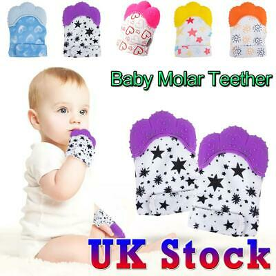 UK Baby Silicone Mitts Teething Mitten Molar Glove Candy Wrapper Soft Teether