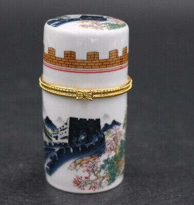 Decor Collect Handmade Porcelain Paint 长城 Noble Rare Toothpick Box