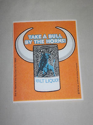 Vintage Beer 1976 Schlitz Take A Bull By The Horns Patch Unused Nice!