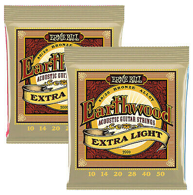 Ernie Ball 2006 Earthwood 10-50 Acoustic Guitar Strings Extra Light TWIN SET!