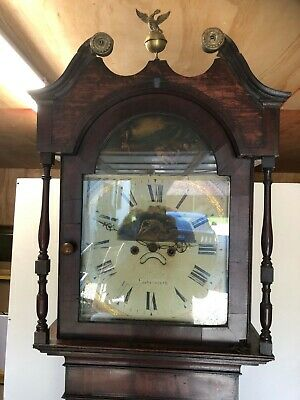 19th Century Oak Long Case Grandfather Clock Cockermouth Shooting Scene