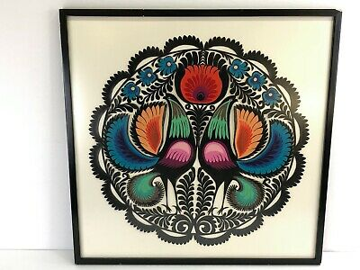 Vintage Circa 1970s Polish Paper Cut Folk Art Design Framed Birds & Flowers
