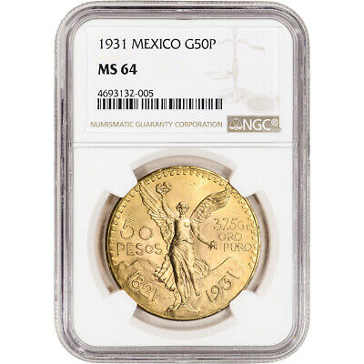 1931 Mexico Gold 50 Pesos - NGC MS64 KM-481