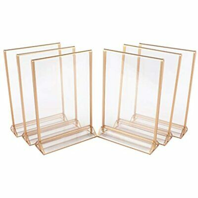Acrylic Sign Holders, Double Sided Picture Frames, 5&rdquox7&rdquo, 6 Pk, Gold