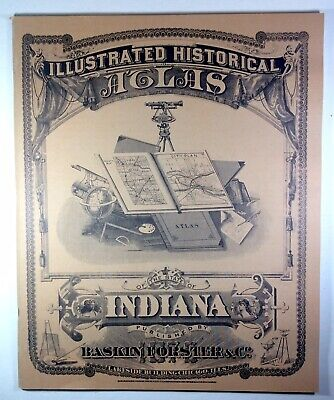 1876 County Maps Illustrated Historical Atlas INDIANA Soft Cover 1968 Reprint