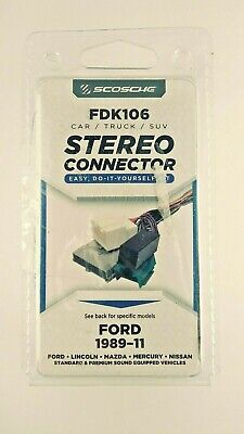 Scosche FDK106 Stereo Connector Easy Do-it-yourself Kit Ford 1989-11 Vehicles