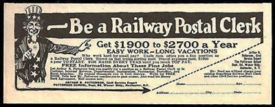Uncle Sam Ad 1927 Be a Railway Postal Clerk Travel on Fast Trains Sorting Mail