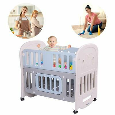 JOYMOR Baby Crib Cradle Rocking Bed Safety Nursery Sleeping Bed with Mattress
