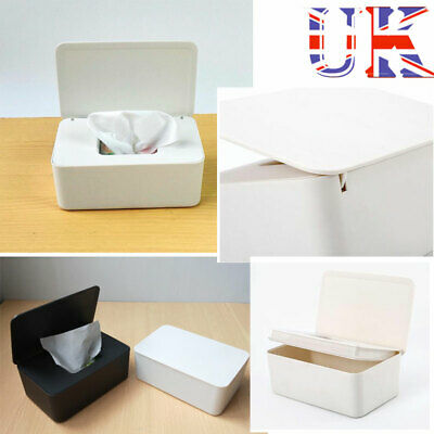 UK Wet Wipes Dispenser Holder Tissue Storage Box Case with Lid for Home Office