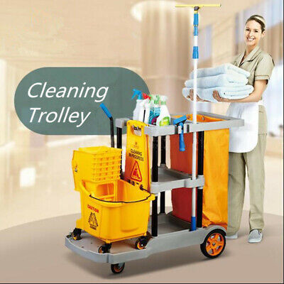 Multi-Function Cleaning Cart Hotel Room Service Houseworking Trolley w/ Bag