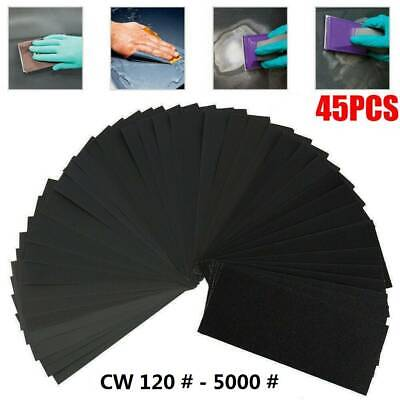 45x Mixed Wet and Dry Waterproof Sandpaper 120-3000 Grit Sheets Assorted Wood