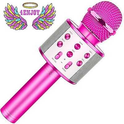 4Enjoy Wireless Bluetooth Karaoke Microphone for Kids Birthday Home Party
