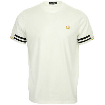 Vêtement T-Shirts Fred Perry homme Abstract Cuff T shirt taille Blanc Coton