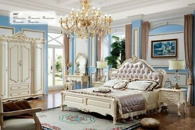 Classic Chesterfield Baroque Rococo Style Beds Double Leather Hotel Bed Antique