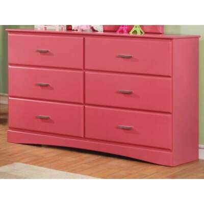Captivating Wooden Dresser In Transitional Style, Pink Pink 6-drawer