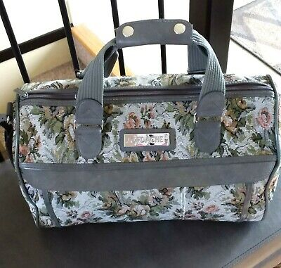 Jordache Gray and Floral Tapestry Travel Bag Weekender Carry On Vintage 1990s