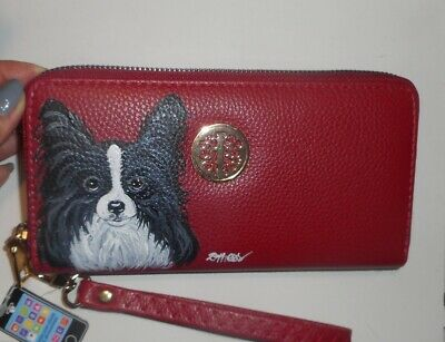 Papillon dog Hand Painted Wallet for Women Vegan Leather Holds Cellphone