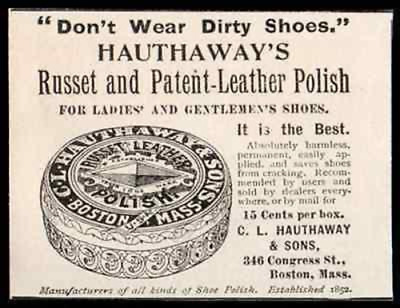 Shoe Polish Hauthaways Russet 1896 Footwear AD