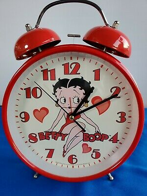 "Betty Boop alarm table clock red king feature vtg Working"" Large Big Pudgy"