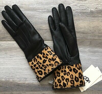 UGG New Women's Size Small Black Fur Lining 100% Genuine Leather Gloves