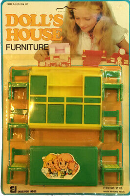Vintage Plastic DOLL HOUSE Furniture Green Kitchen/Dining Room, New in Package