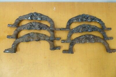 Antique Set 6 Ornate Cast Iron Swing Drop Handle Chest Trunk Drawer Handles