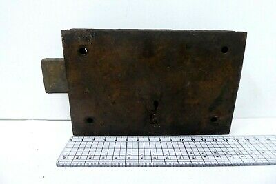 Unusual Antique Double Sided Victorian Door Rim Lock  Key Only Pad