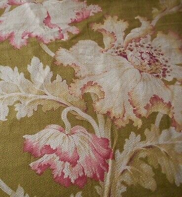 Antique French Art Nouveau Floral Poppy Cotton Fabric #1~ Rose Pink Olive Ochre