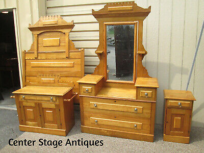 55861 Antique Oak Bedroom Set Headboard Dresser Mirror Washstand + Nightstand