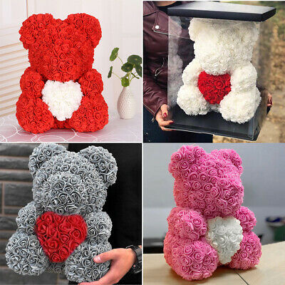 Foam Rose Teddy Bear Flower 25/36/40cm with Gift Box for Valentine Birthday Xmas