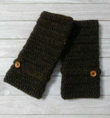 Crochet texting gloves finger-less woman's  Brown sequoia button handmade