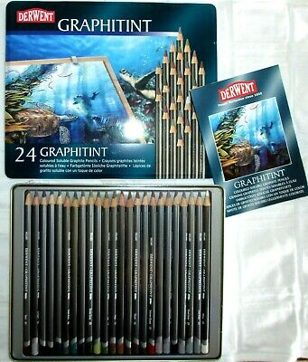 NEW & Sealed Derwent GRAPHITINT 24 Colored Soluble Graphite Pencils in Tin Box