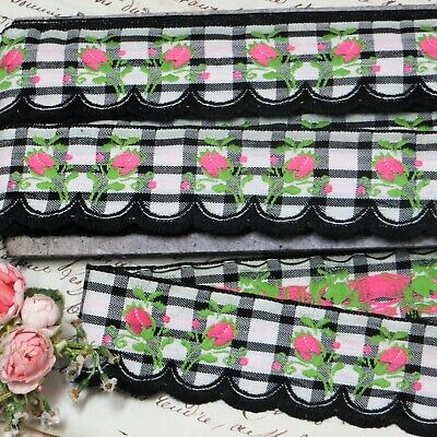 12y BOLT VTG JACQUARD FLOWER TRIM PINK BLACK WHITE SCALLOP GINGHAM RIBBON FRENCH