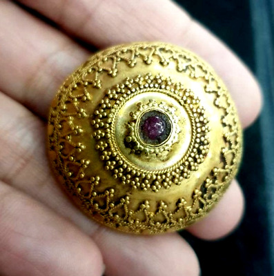 Ancient Genuine Solid Gold 22K OLD ruby Granulated Shield Silver Band Ring