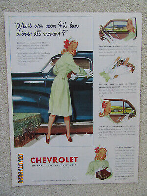 1947 Large Original Ad - CHEVROLET Automobile (Recommended by Women)