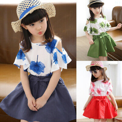 2pcs Children Kids Girls Holiday Summer Printed Tops+skirt Casual Outfit Sets