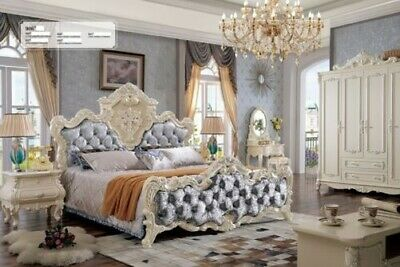 Classic Chesterfield Rococo Baroque Style Beds Leather Double Hotel Bed Antique